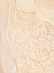 1910s Edwardian Silk Cream Embroidered Blouse