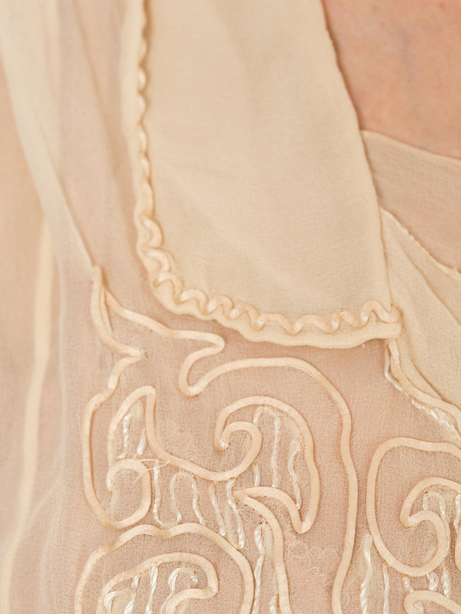 Edwardian Ecru Silk Chiffon Long Sleeve Blouse With Satin Cord Embroidery