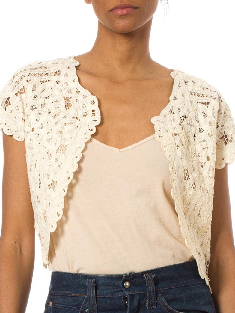 1950S Off White Cotton Handmade Lace Vest Top