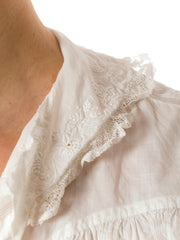 1900's Edwardian Embroidered Lace White Cotton Blouse