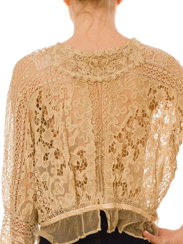 Edwardian Tan Cotton Exceptional Hand Made Antique Lace Blouse XL
