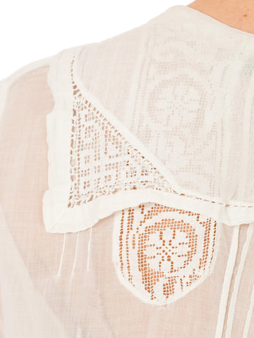 Victorian Embroidered White Cotton Blouse