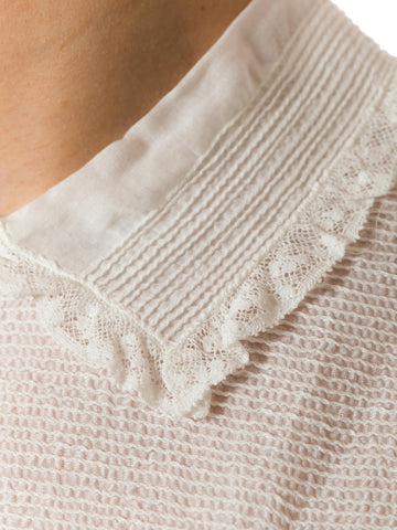 1930S Cotton Victorian Style White Lace Insertion Blouse