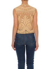 1960s Boho Lace Crochet Cream Vest
