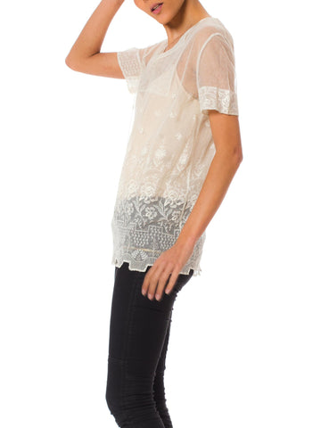 1920s White Sheer Embroidered Gauze Cotton Short Sleeve Top