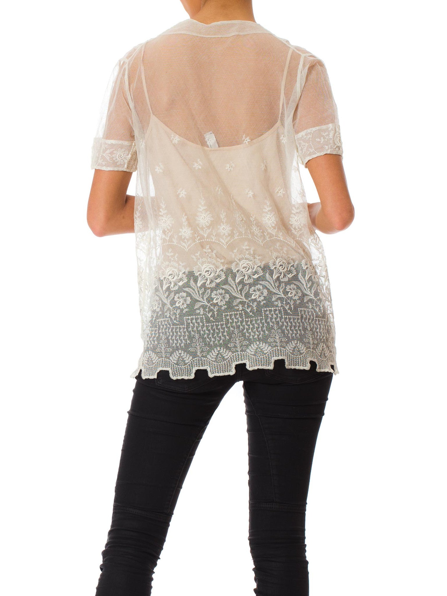 1920S White Cotton Embroidered Tulle Oversized Sheer Top With Van Dyck Hem