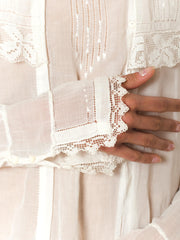 1910 Edwardian Hand Made Cotton Blouse with Lace Collar