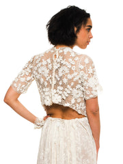 Edwardian Cream Hand Done Cotton Irish Crochet Short Sleeve Blouse , Can Also Be Worn Backwards As A Jacket