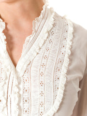 1930s Victorian Inspired Ruffled Lace Long Sleeve Pearl Buttons Cotton Blouse