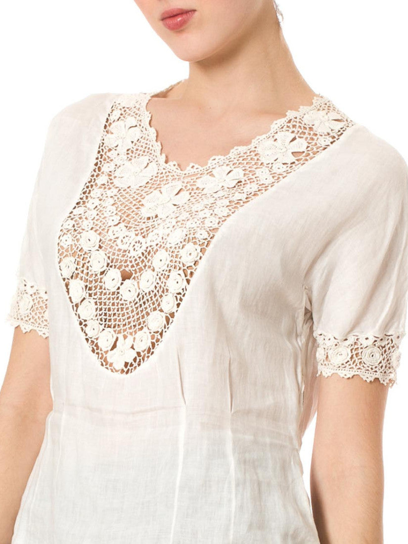 Early 1900's Delicate Relaxed Vintage White Lace Cotton Top
