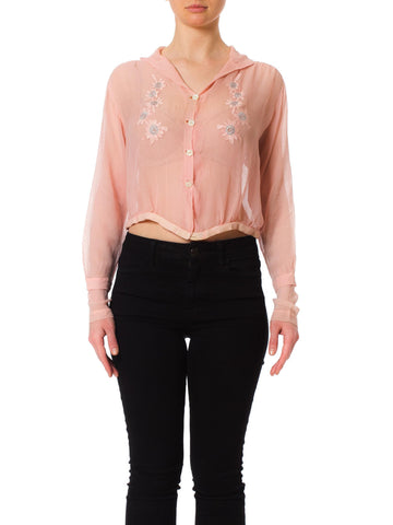 1920s Edwardian Hand Embroidered Pink Sheer Blouse Top