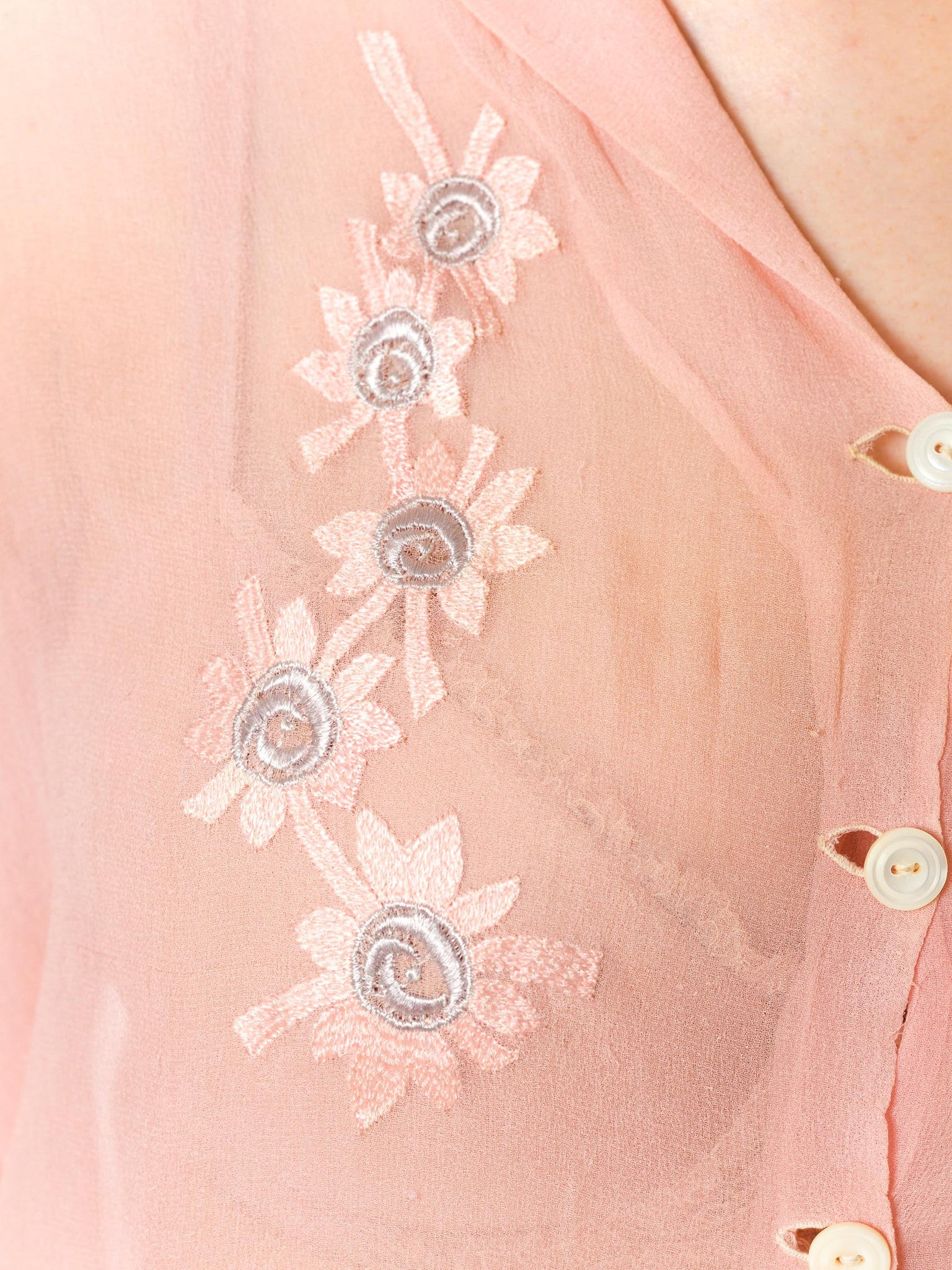 1920S Baby Pink Sheer Silk Chiffon Edwardian Blouse Embroidered With Blue Flowers As-Is