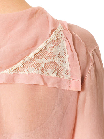 1920S Edwardian Hand Embroidered Pink Sheer Blouse