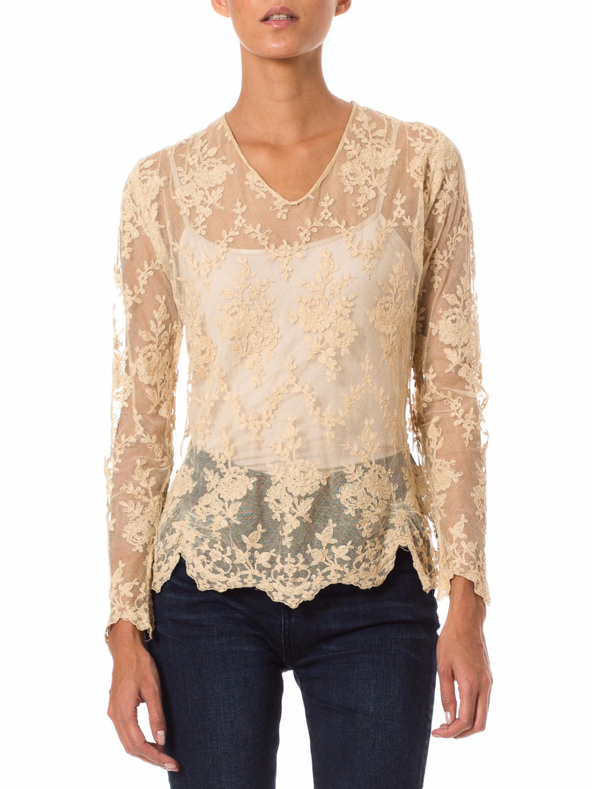 Sheer Beige Mesh Top with Floral Embroidery