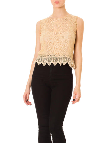 1920s Hand Embroidered Lacy Cropped Top