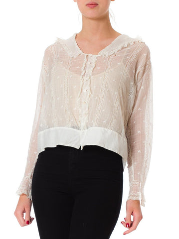 1910s Edwardian Insertion Lace White Cotton Blouse