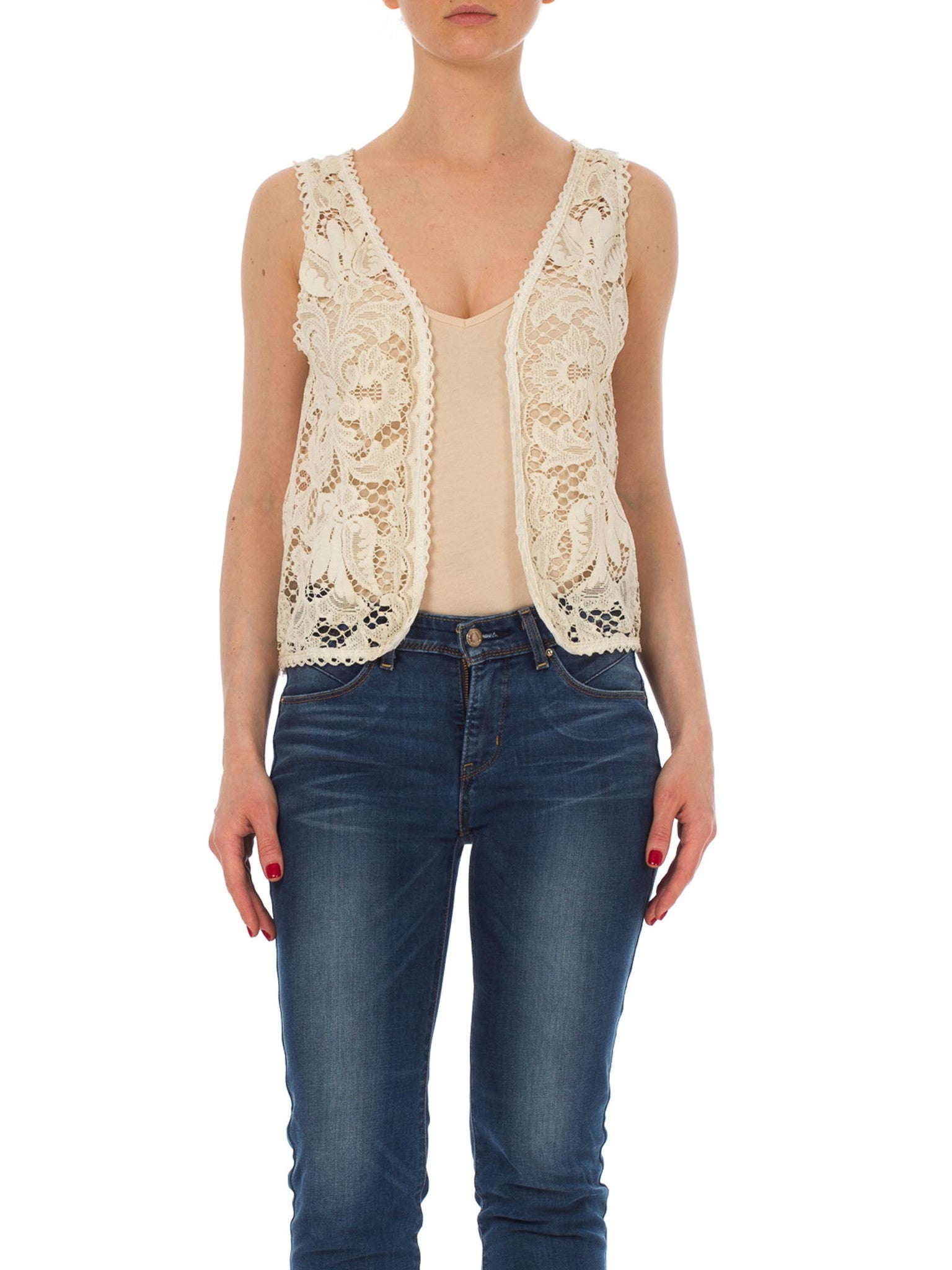 1960s Victorian Style  Lace Sheer Floral White Vest