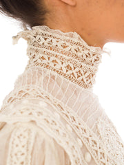 1905 Victorian Lace Crochet Cream Long Sleeve High Neck Top