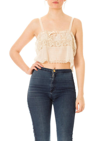 1920s Boho Lace Silk Straps Top