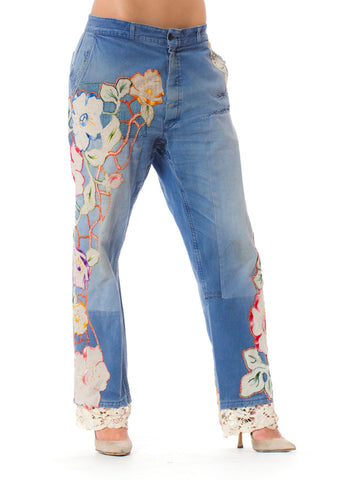 Vintage French Workwear Denim Pants with Floral Embroidery and Lace Details