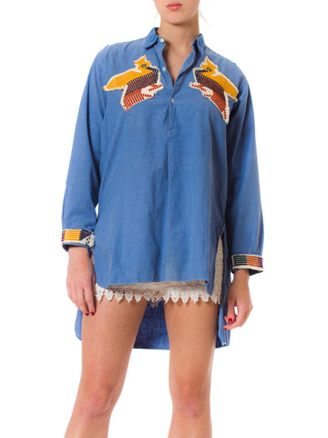 Vintage French Workwear Denim Shirt with Ethnic Embroidered Patches
