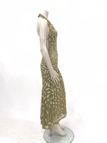 1990'S Gianni Versace Ateliér Metallic Gold Lamé Lace Gown Covered In Crystals & Velvet Appliqués