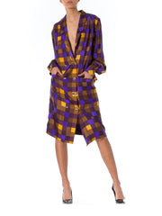 1980s Louis Feraud Couture Plaid Double Breasted Silk Jacket