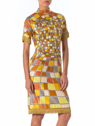 1960S Yellow Rayon Op-Art Geo Printed Short Sleeve Dress