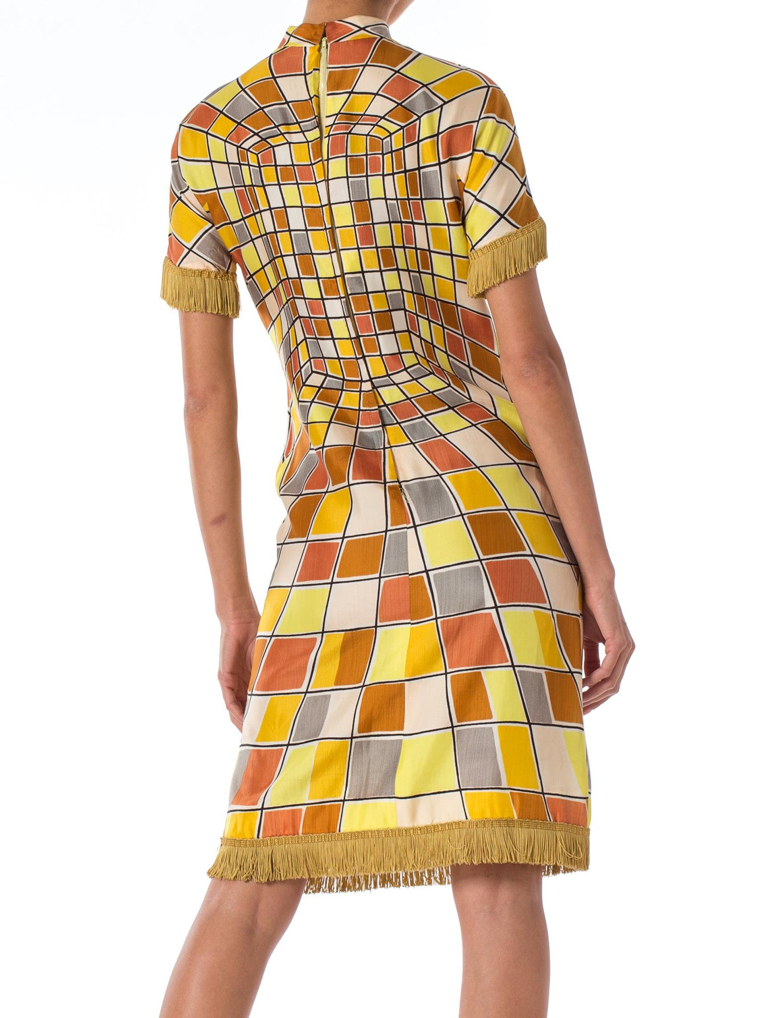 1960S Yellow Rayon Op-Art Geo Print Short Sleeve Mod Dress With Fringe