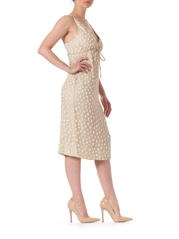 1960S LARRY ALDRICH White & Ivory Silk Chiffon Polka Dot Beaded Cocktail Dress