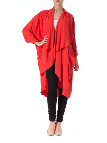 1980s L Magnin Minimalist Draped Red Silk Jacket