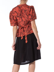 1940s Abstract Ostrich Feather Print Short Sleeve Dress