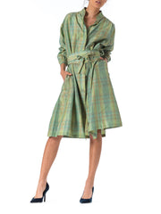 1960s Missoni Green Silk Shirt Dress