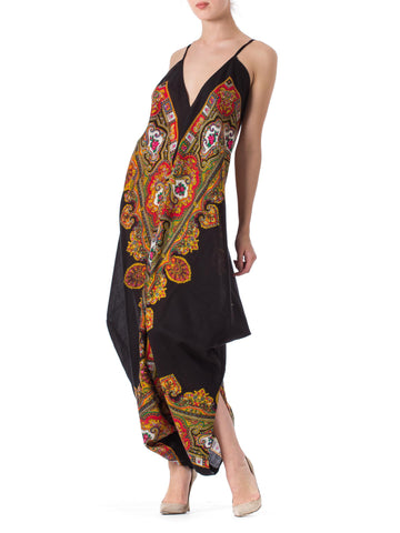 1970 Morphew Collection Black & Paisley Silk Wool Cotton Printed  Jumpsuit