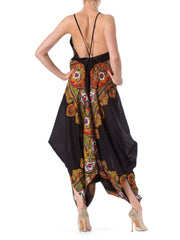 Morphew Lab Boho Strappy Jumpsuit Made of 1970s Paisley Printed Fabric