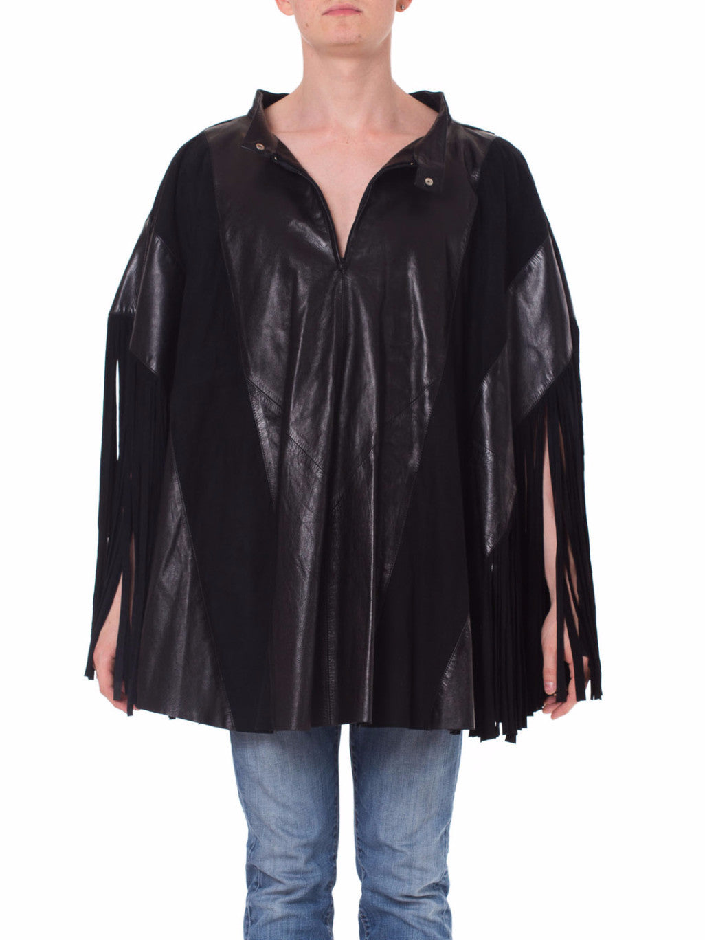 1970s Fringed Leather and Suede Poncho