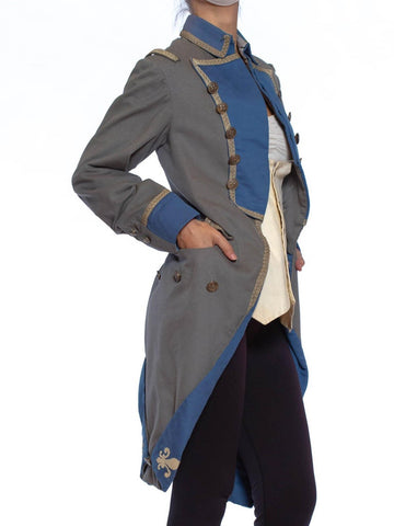 1920S Grey & Blue Wool 18Th Century Style Military Frock Coat