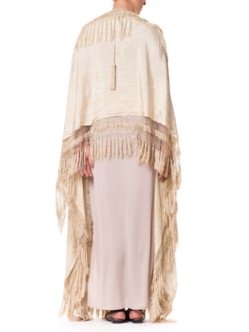 Chinese Embroidered Victorian Fringe Shawl