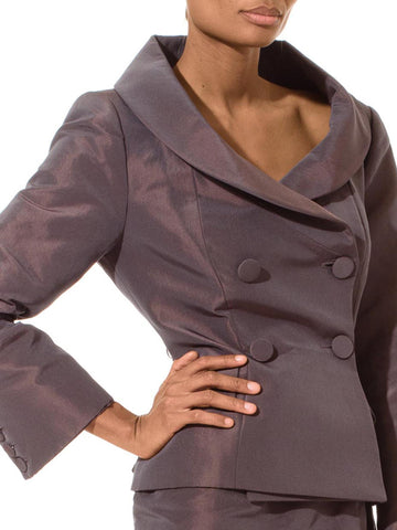 1990'S SOPHIE SITBON Dark Grey Polyester & Silk Iridescent Shawl Collar Mini Skirt Suit