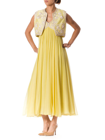 1960s Beautiful Yellow Silk Chiffon Gown with Crystal Beading and Embroidery. Comes with a Matching Vest.