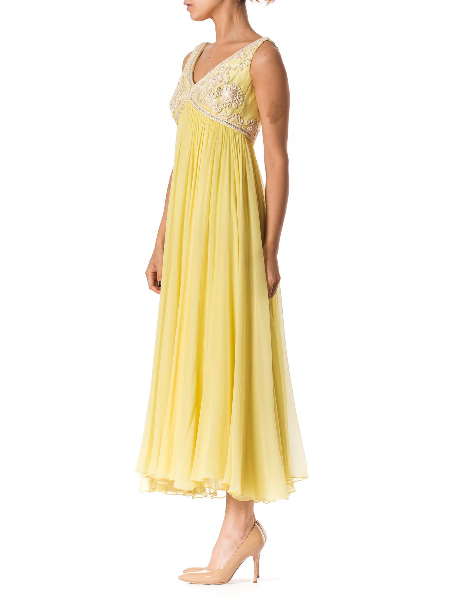1960S Lemmon Yellow Beaded Silk Chiffon Empire Waist Gown With Matching Cropped Vest