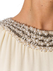 1970s Magnificent Crepe Silk Gown with Crystal and Pearl Beading on Neck and Waist