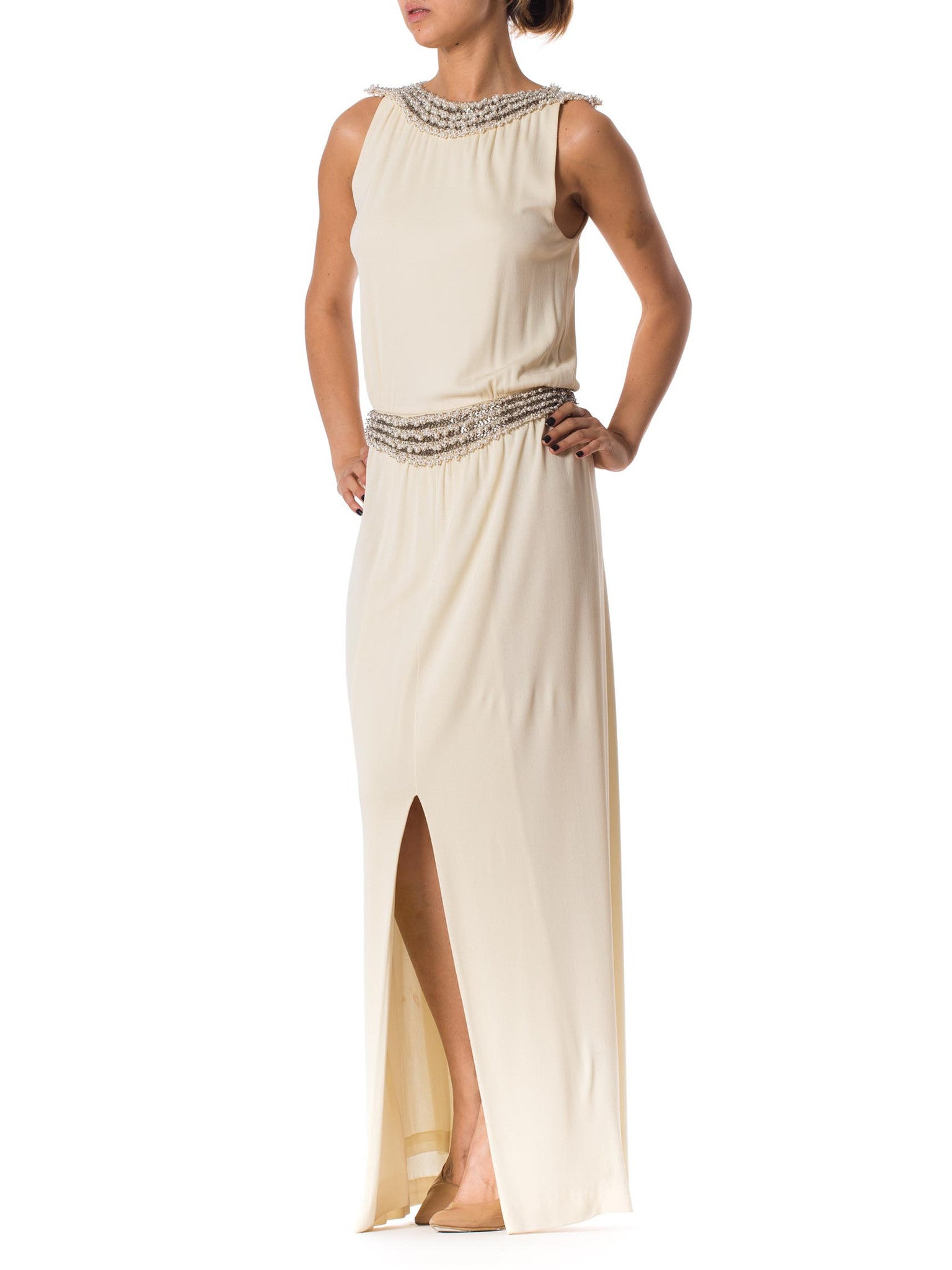 1970S Ivory Silk Jersey Gown With Crystal & Pearl Beading