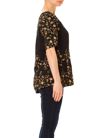 1920S Black Hand Painted Rayon Faille Floral Top