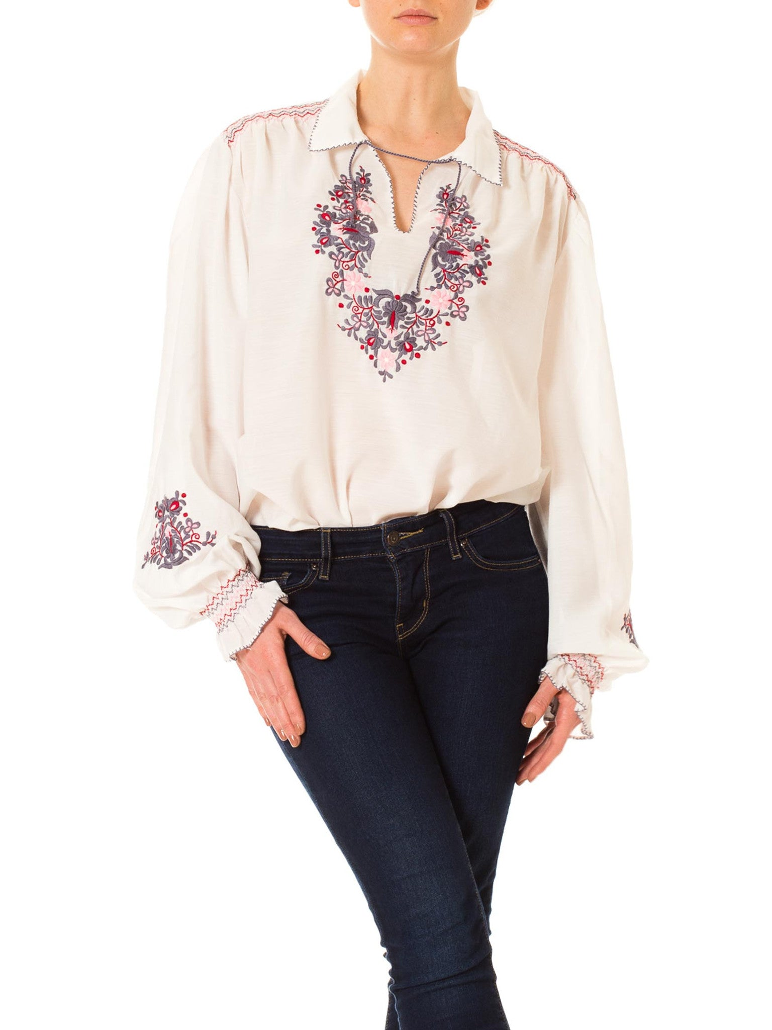 1970s Boho Ethnic Hand Embroidered Peasant Blouse