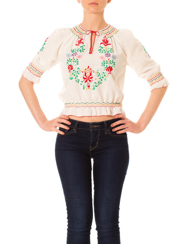1920s Floral Embroidered Boho Short Sleeve Blouse