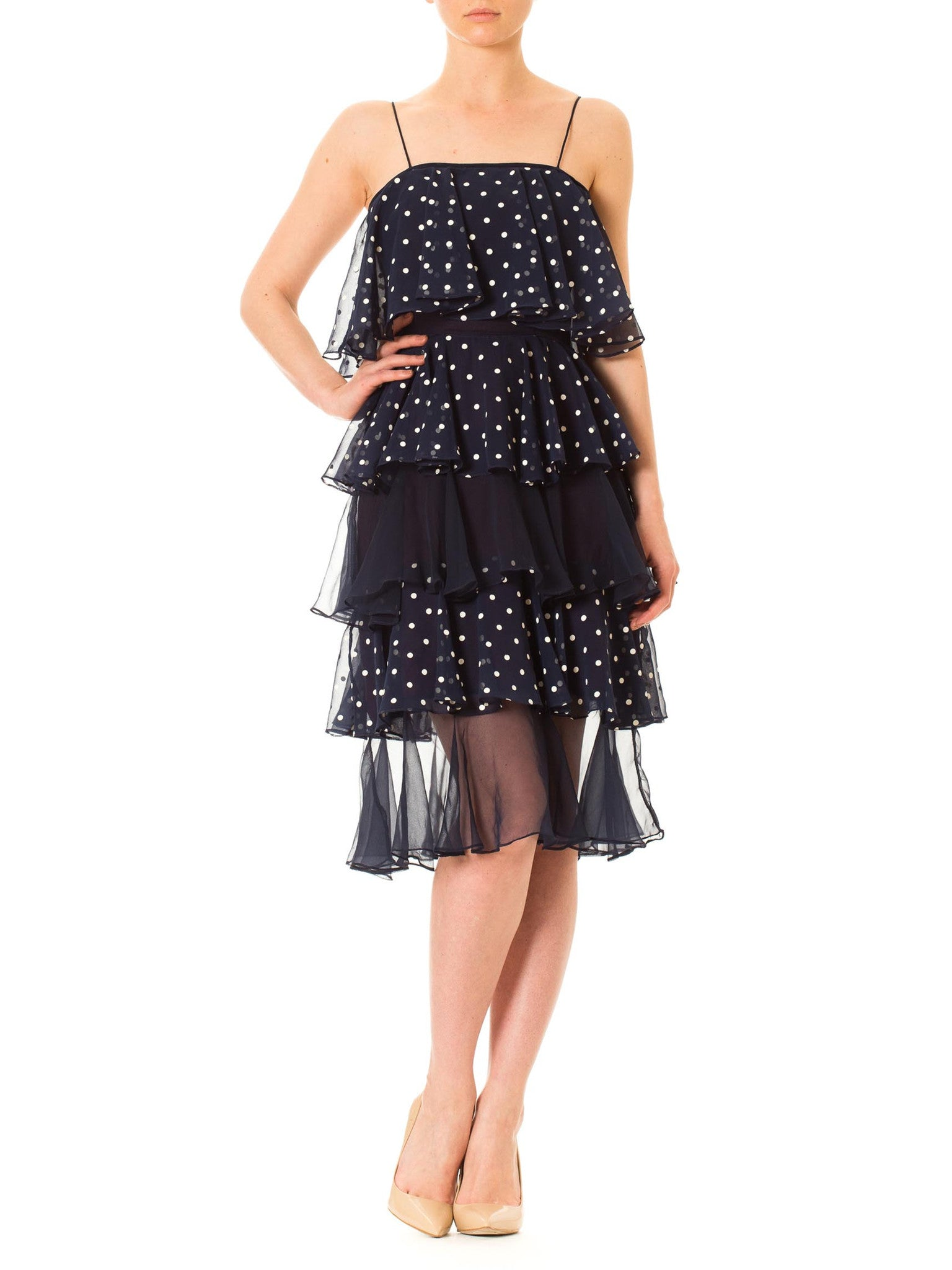 1970s Flowing Polka Dots Spaghetti Strap Chiffon Dress with Ruffles