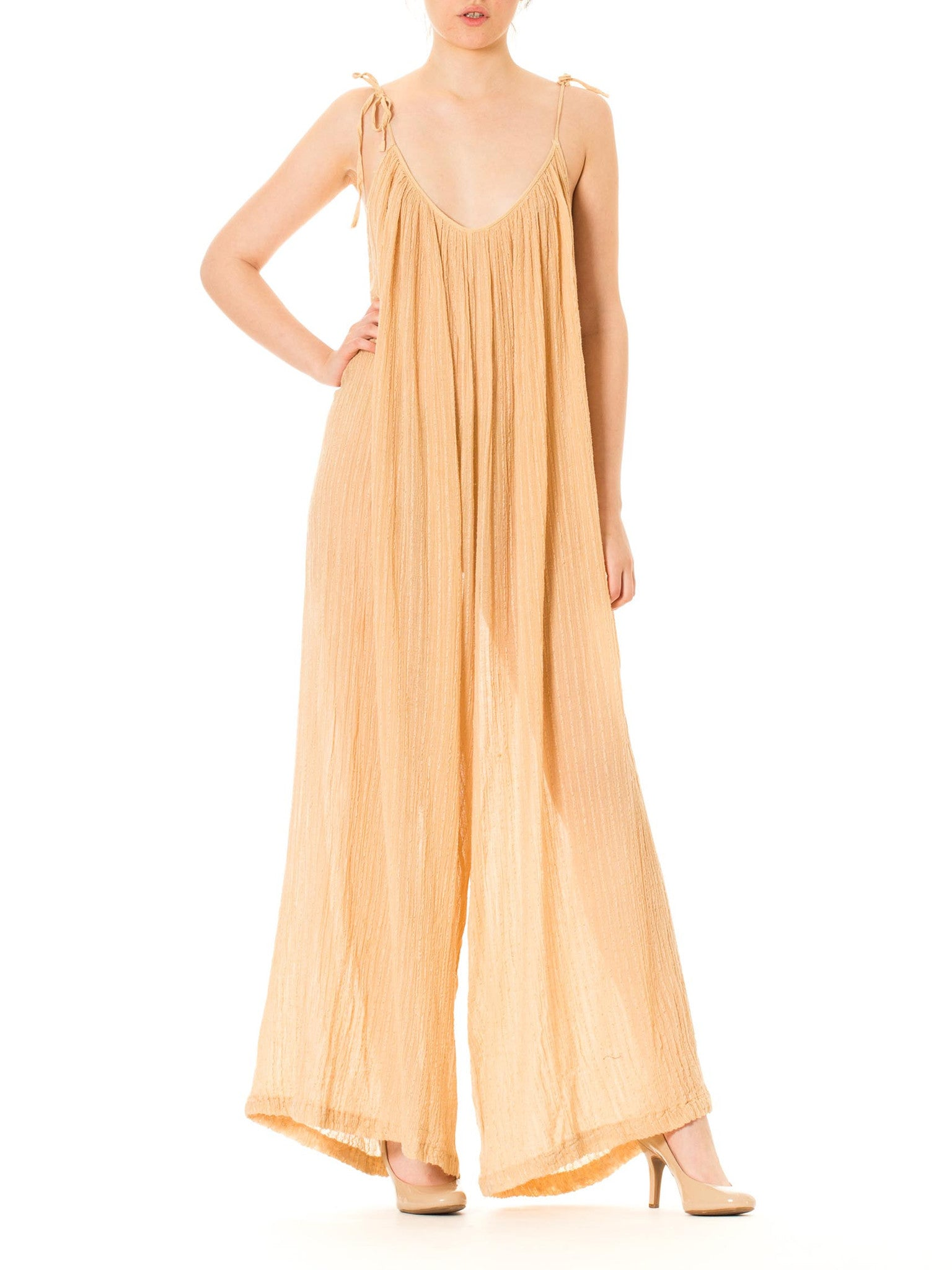 1970s Boho Draped Cotton Gauze Shoulder Strapped Palazzo Jumpsuit