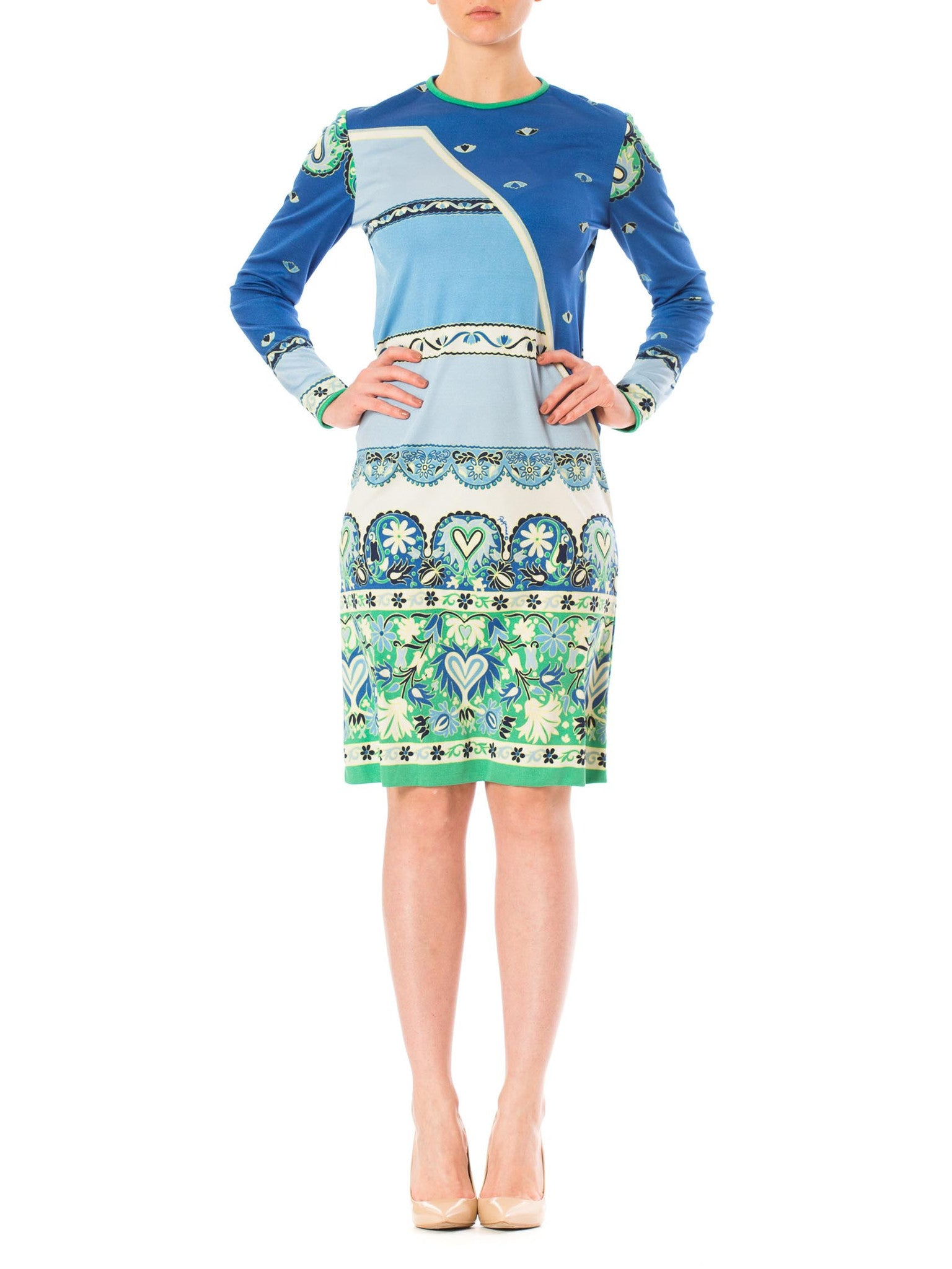 1960s Blue Paganne Mod Psychedelic Long Sleeve Midi Dress