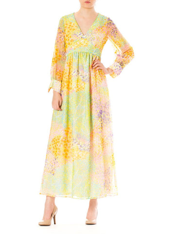1970S Multicolor Psychedelic Polyester Chiffon Maxi Dress